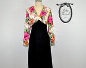 Vintage 70s Empire Mod Floral Dress