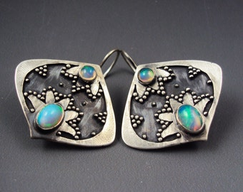 Alalia Earrings- Flower/Floral Earrings with Stones: Opal, Chalcedony and Blue Topaz, or Labradorite and Iolite