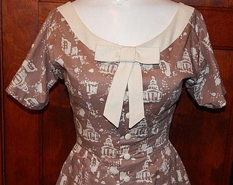 Vintage 50s MARC CHAGALL Le Pantheon fabric artist novelty print dress