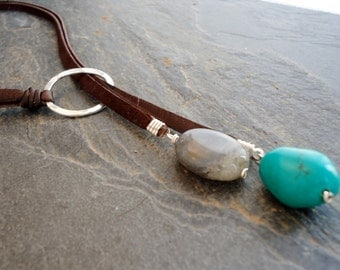 Leather Necklace, Leather Turquoise lariat, Sterling Silver Turquoise  Labradorite  Deerskin  lariat/Aqua Blue/Spring Colors