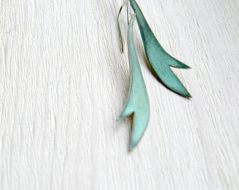 Verdigris Garden Earrings - Handmade copper, dangle long earrings, leaf, feather, blue green, made in Italy