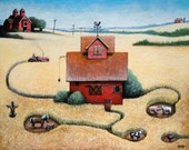 The Farm, 11x14 fine art matted giclee print reproduction of an original oil painting