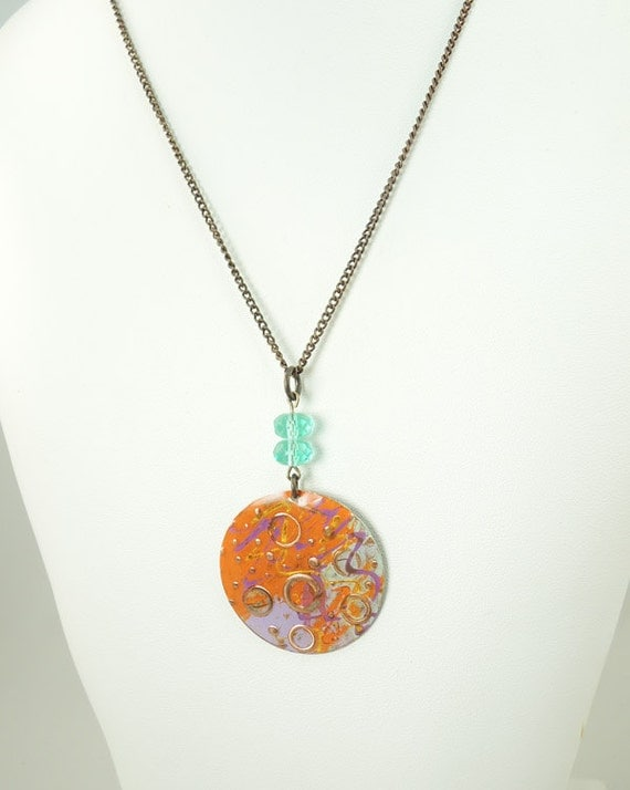 Whimsical Necklace ,Necklace ONLY  Hand painted orange, purple and turquoise