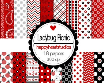 Digital Scrapbook Ladybug Picnic-INSTANT DOWNLOAD