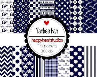 Digital Scrapbooking Yankees Fan-INSTANT DOWNLOAD
