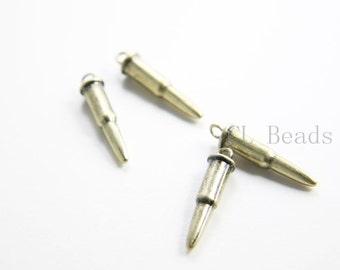 4pcs Antique Brass Tone Base Metal Charm - Bullet 26x6mm (228C-R-219)