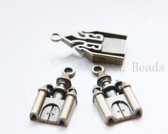 10pcs Antique Brass Tone Base Metal Charms-Castle 28x14mm  (19010Y-C-305)