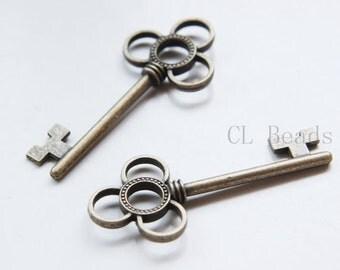 6pcs Antique Brass Tone Base Metal Charms-Key 53x23mm (15986Y-C-318)