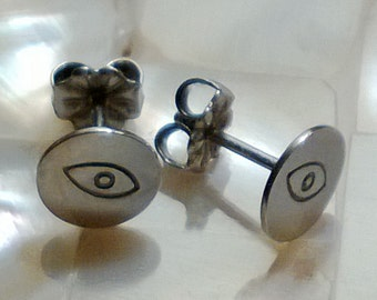 evil eye  sterling silver studs reserved for Lisa