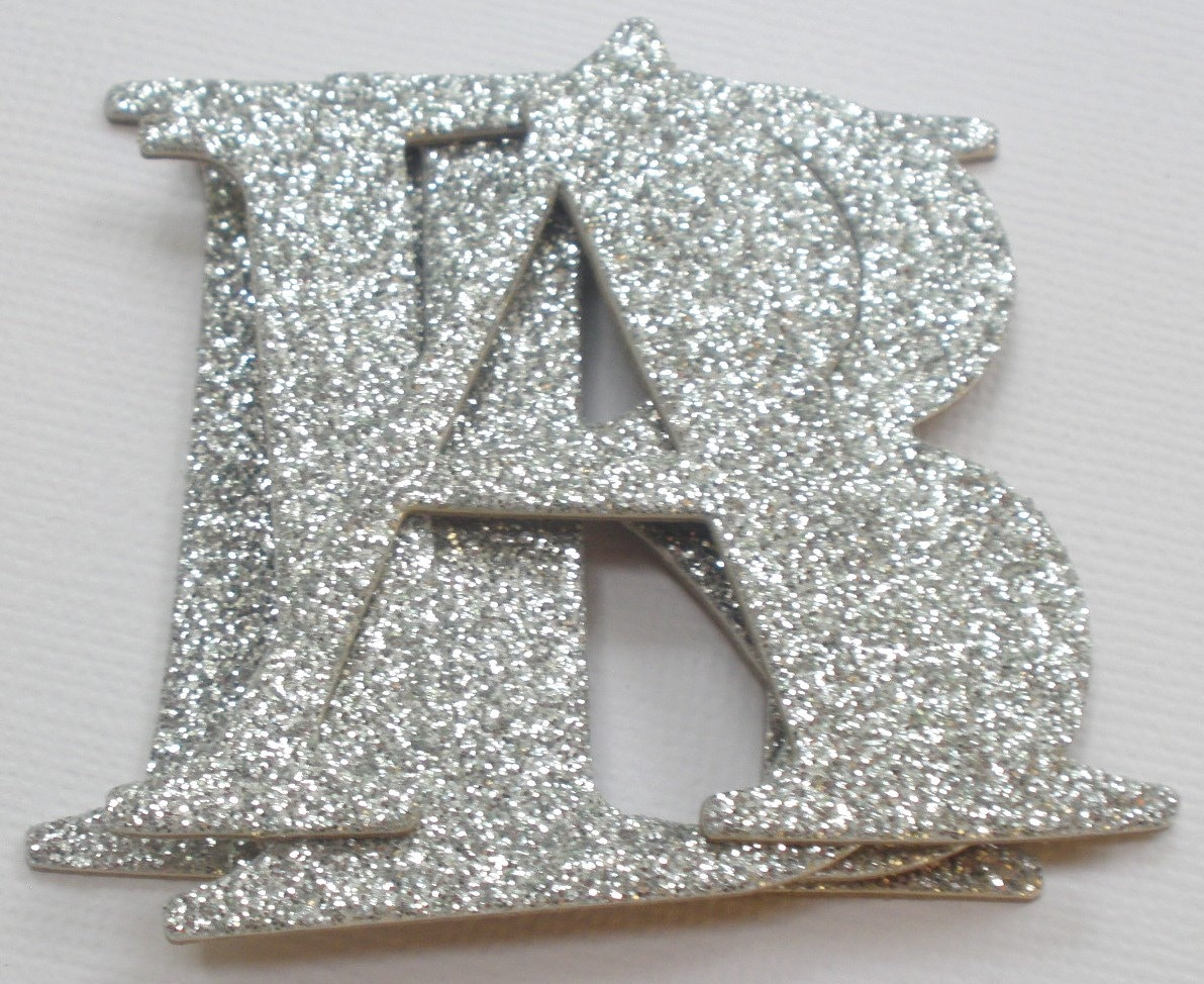 Glitter letters 2 elegant chipboard letter die cuts for Where to buy chipboard letters