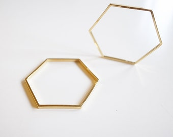 10 pieces of cut raw brass tube outline charm in hexagon geometric shape deco 34x39x1.5 mm plated in 24k gold