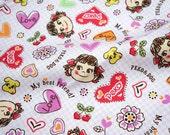 Licensed fabric by fujiya Peko Chan print Japanese Fabric ©fujiya
