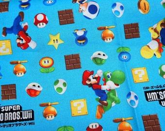 "Mario Bross Print Japanese fabric 50 cm by 106 cm or 19.6"" by 42"" Half meter"