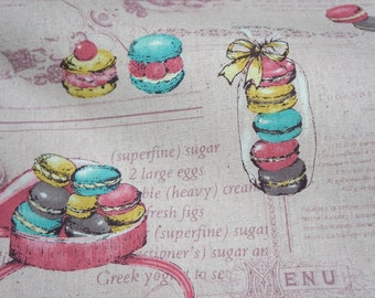 Yuwa Fabric Macaron and sweets Cotton Linen Blend A26