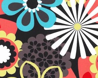 One (1) Yard - Orange Flower Shower on Black Background By Michael Miller Fabrics CX4065-CLEM-D