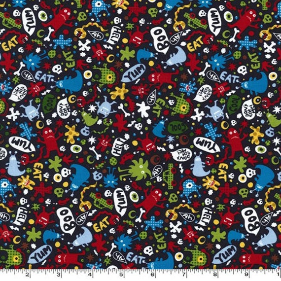 Fat Quarter -Don't Eat Me Monsters on Navy Blue Multi by Michael Miller Fabrics CX5186-NAVY-D