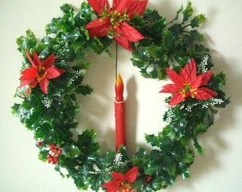 Vintage Christmas Wreath with Candle Light