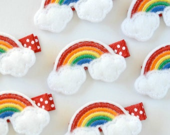 Felt Rainbow Hair Clip - A cute rainbow clippie - Perfect for every day - Birthday party gifts, favors