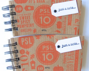 STARBUCKS Notebook made out of Coffee Sleeves-set of 2 for the Pumpkin Spice Latte Lover