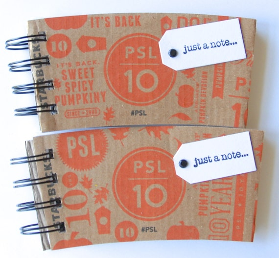 STARBUCKS SPIRAL NOTEPAD made out of Coffee Sleeves-set of 2 for the Pumpkin Spice Latte Lover