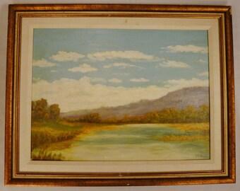 PAINTING Impressionistic LANDSCAPE Signed M. Pooler Gallery Gilt Framed ap 19 x 15