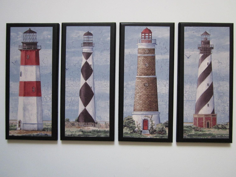 Lighthouses Wall Decor Set 4pc Nautical Coastal Spa Bath