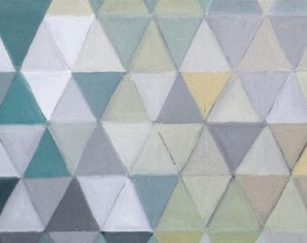 Follow the Pattern, oil on canvas, geometric, triangle painting