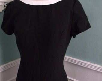 Vintage Black Cocktail Dress. Mad Men Style Elegant Evening Dress.Open Back. Pin Up
