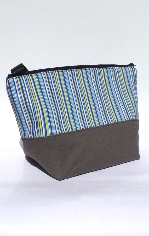 SALE Insulated Lunch Bag Eco Friendly Zip Summer Stripe Blue Lunch Bag by BonTons