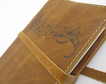 Leather Journal Sketchbook Custom Hand-Printed personalized