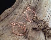 Rose Gold Filled Hammered Leaf Earrings. Wire Wrapped. Textured. Small (E077RG-S) wire jewelry by cristysjewlery on etsy