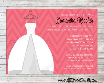 Mrs. custom bridal shower invitation with beautiful wedding dress on a hanger - digital file