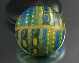 Polymer Clay Pendant Bead in Green and Blue