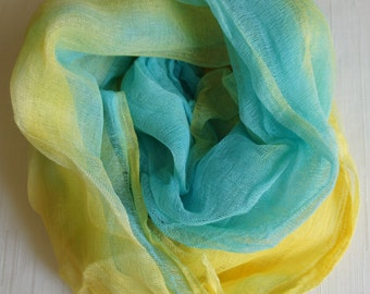 Cheesecloth, Newborn Wrap Photography Prop, Yellow and Aqua Cheesecloth, Baby Wrap, Newborn Photo Prop, Newborn Cheeseclth Wrap, Gauze