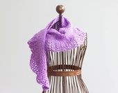 Light Purple Scarf, Hand Crocheted Lace Scarf,  Spring Shawl, Ruffle Scarf, Vegan Scarf, Very Soft