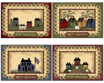 Primitive Saltbox Houses Postcards Digital Download Image 404