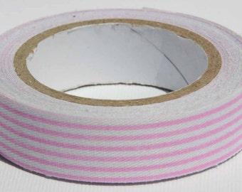 Washi Tape, Light Pink and White Striped Fabric Tape - Washi