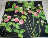 Vintage Strawberry Print Chintz Lingerie Bag Estate Sale Find