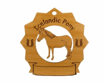 8155 Icelandic Pony Personalized Wood Ornament