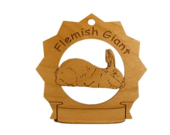 Flemish Giant Rabbit Personalized Wood Ornament - Free Shipping