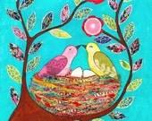 Love Nest, Collage Bird Art Print, Mixed Media Large Poster Print  40x50 cm (16x20 inch), Home Decor