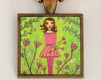 Folk Art Girl Pendant Necklace Handmade Art Jewelry