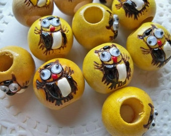 WOODEN OWL Beads/YELLOW Owl Beads/Large Hole Wooden Beads/Hippie Beads/Google Eye Beads