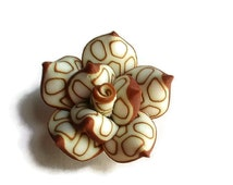 6 Clay Beads, Jewelry Making & Craft Supplies , Handmade Polymer Clay Rose Beads, White and Brown beads