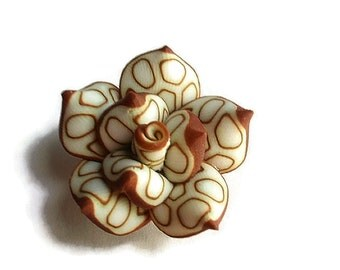6 Clay Beads, Jewelry Making & Craft Supplies , Handmade Polymer Clay Rose Beads, Creamy White and Brown beads
