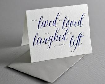 Letterpressed Sympathy Card