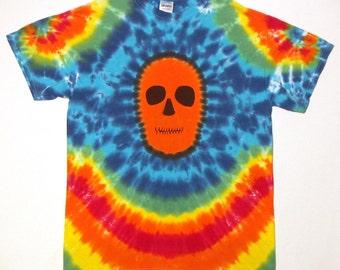Rainbow Zombie Skull Tie Dye T-Shirt Adult Medium