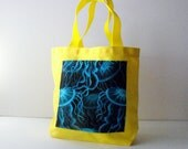 Mini Yellow Cotton Tote with Blue Jellyfish Pocket