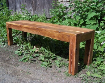 Modern Style Parsons Bench from Reclaimed Barn Wood