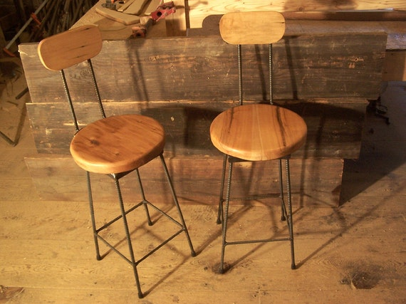 Items Similar To Reclaimed Maple Swivel Bar Stools With